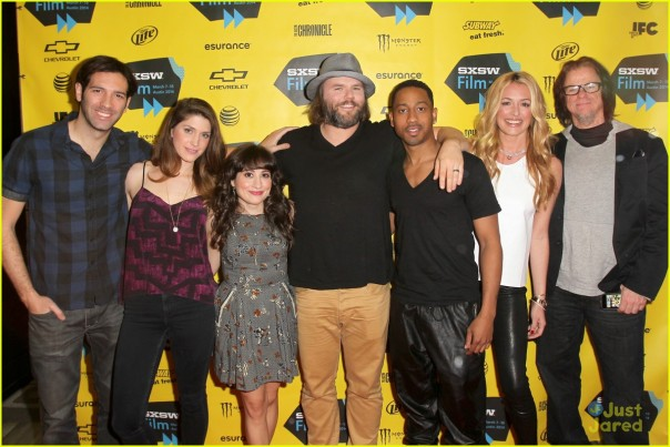 "AUSTIN, TX - MARCH 11:  (L-R) Writer/creators Brett Konner and Cody Heller and actors Lucy DeVito, Tyler Labine, Brandon T. Jackson, Cat Deeley, and producer Troy Miller attend Hulu presents the ""Deadbeat"" Premiere on March 11, 2014 in Austin, Texas.  (Photo by Jonathan Leibson/Getty Images for Hulu)"