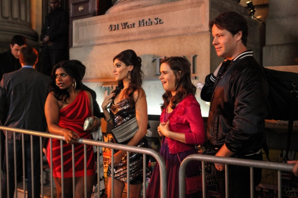 "THE MINDY PROJECT:  Shauna (Amanda Setton, C) takes Mindy (Mindy Kaling, L), Betsy (Zoe Jarman, second from R) and Morgan (Ike Barinholtz, R) to the hottest nightclub in town in the ""In the Club"" episode of THE MINDY PROJECT airing Tuesday, Oct. 9 (9:30-10:00 PM ET/PT) on FOX. ©2012 Fox Broadcasting Co. Cr: Beth Dubber/FOX"