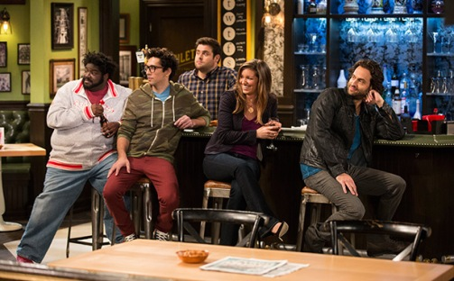 "UNDATEABLE -- ""My Hero Is Me"" Episode 105 -- Pictured: (l-r) Ron Funches as Shelly, Rick Glassman as Burski, David Fynn as Brett, Bianca Kajlich as Leslie, Chris D'Elia as Danny -- (Photo by: Justin Lubin/NBC)"