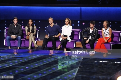I CAN DO THAT -- Episode 101A -- Pictured: (l-r) Jeff Dye, Ciara, Alan Ritchson, Nicole Scherzinger, Joe Jonas, Cheryl Burke -- (Photo by: Trae Patton/NBC/NBCU Photo Bank)