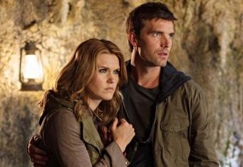 "Haven -- ""The Lighthouse"" Episode 413 -- Pictured: (l-r) Emily Rose as Audrey Parker, Lucas Bryant as Nathan Wuornos -- (Photo by: Michael Tompkins/Syfy)"