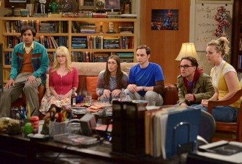 """The Countdown Reflection"" -- When Howard and Bernadette decide they want to be married before his NASA launch, the gang rushes to put on a wedding, on the fifth season finale of THE BIG BANG THEORY, Thursday, May 10 (8:00 - 8:31 PM, ET/PT) on the CBS Television Network.  Pictured (left to right):  Kunal Nayyar, Melissa Rauch, Mayim Bialik, Jim Parsons, Johnny Galecki, Kaley Cuoco.  Photo: Michael Yarish/CBS  �©2012 CBS Broadcasting, Inc. All Rights Reserved."