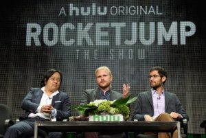 "BEVERLY HILLS, CA - AUGUST 09: (L-R) Producer/Creator/Writer Freddie Wong, Showrunner Ben Waller, and writer Anthony Burch speak onstage during the panel for ""RocketJump: The Show"" at the Hulu 2015 Summer TCA Presentation at The Beverly Hilton Hotel on August 9, 2015 in Beverly Hills, California. (Photo by Tommaso Boddi/Getty Images)"